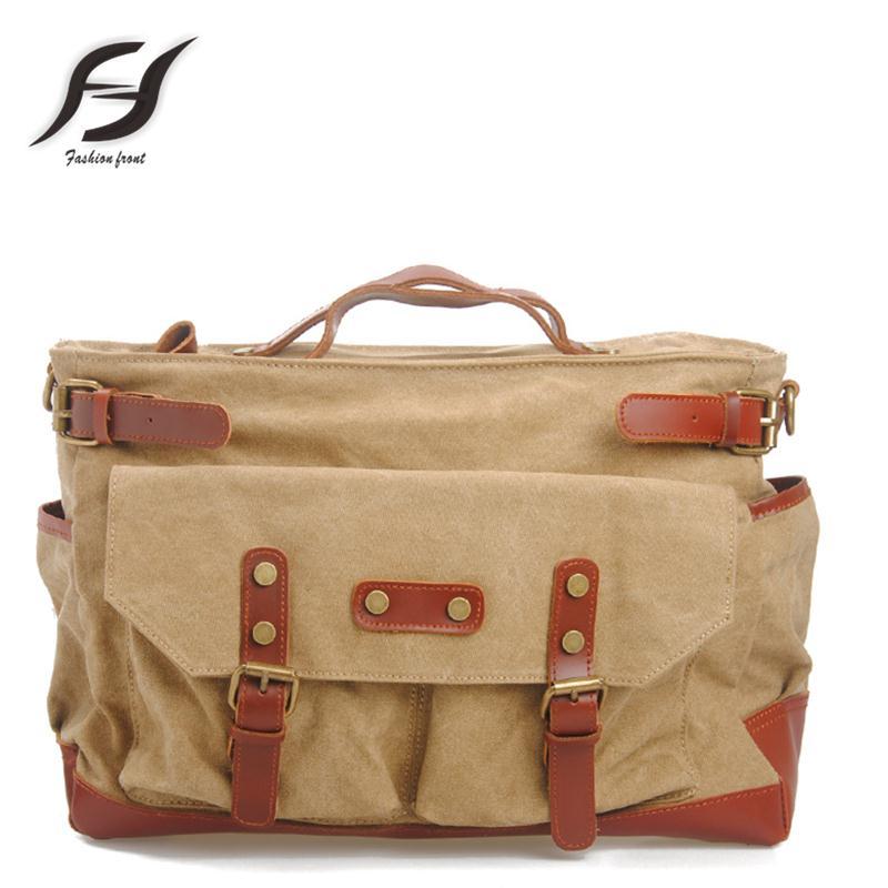 Large capacity women and men canvas bag 4 Vintage colour unisex canvas messenger bag multifunction canvas handbag for women
