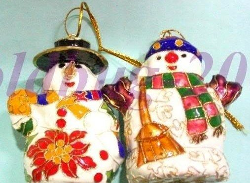Free Shipping! Christmas gifts ORNAMENT WHOLESALE 6 PCS CLOISONNE & SNOWMAN christmas hang(China (Mainland))