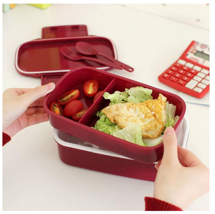 Fun Life 12:00 It's Lunch Time Japan style Double Tier Bento Lunch Box 4 Color Large Meal Box Tableware Microwave Dinnerware Set(China (Mainland))