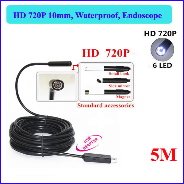 5M Cable 10mm USB Endoscope 2.0MP 720P HD Camera 1080*720 Borescope Industrial Pipe Inspection IP67 Waterproof - QX Store store