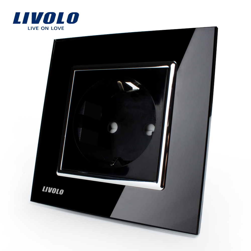 Free Shipping, Livolo EU Power Socket, Black Crystal Glass Panel, 16A EU Standard Wall Outlet without Plug VL-C7C1EU-12(China (Mainland))
