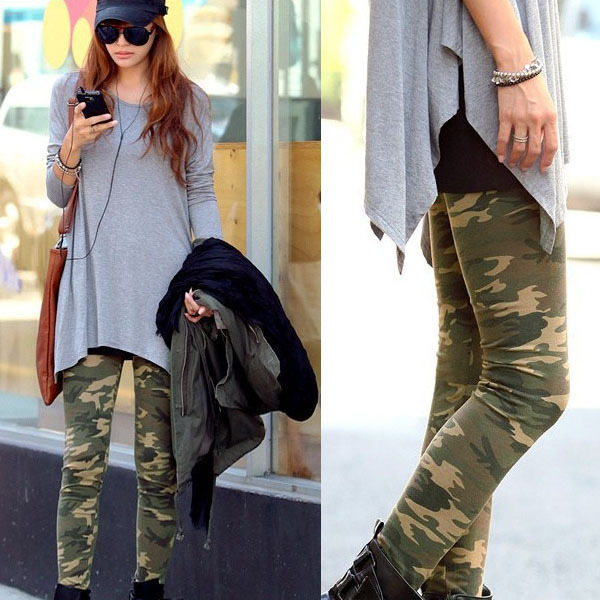 Fashion Women's Camouflage Army Print Stretch Cool Sexy Palazzo Pants Skinny lulu Leggings Trousers fast dispatch Dropshipping(China (Mainland))