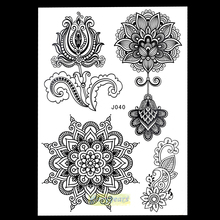 1PC New Mixture Picture Designs for Sexy Women Body Beauty & Health Henna BJ040 Lotus Flower Lace Mehndi Temporary Tattoo Paster(China (Mainland))