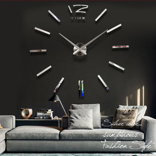 Big Size Luxury DIY 3D Wall Clock Digital Modern Mirror Sticker Best Gifts Home Decoration - LY gifts store