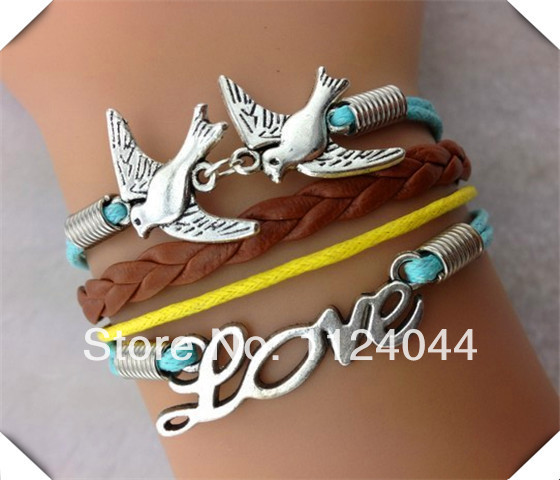 Free Shipping!6PCS/LOT!Silver Double Bird LOVE Brown Leather Rope Charm Bracelet Popular Women Gift Wish Band Jewelry F-793(China (Mainland))