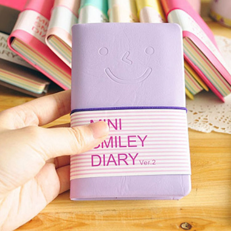 Hot Sale Cute Candy Color Mini Portable Smile Pu Leather Cover Paper Diary Book Memo Notebook Notepad Color Random OSS-001706(China (Mainland))
