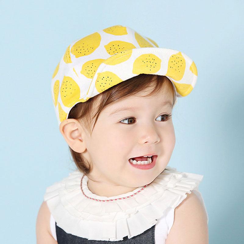 Soft Brim Kids Hats Summer Sun Hats Fruit Printed Children's Baby Baseball Beret Caps Cute Boy Girl for 1-3Y baby(China (Mainland))