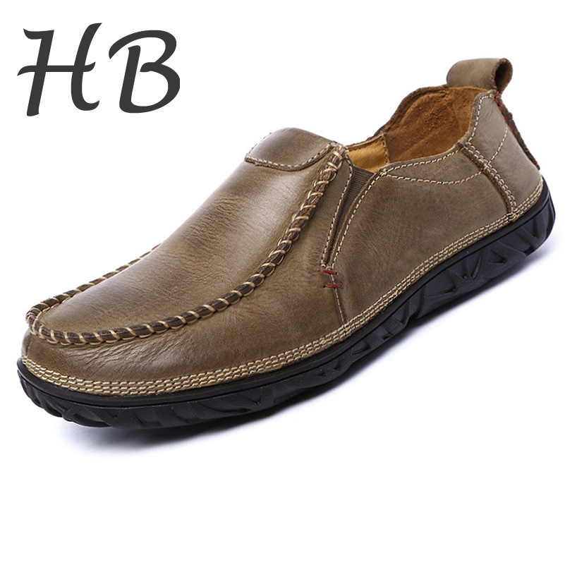 Hot Sale Genuine Leather Shoes 2016 Fashion Spring Autumn Slip-on Loafers Moccasins Breathable Lazy Shoes Men's Flat Shoes