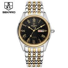 Sekaro 2016 new casual fashion men's luxury mechanical watch waterproof outdoor sports new gold tape belt hollow Calendar