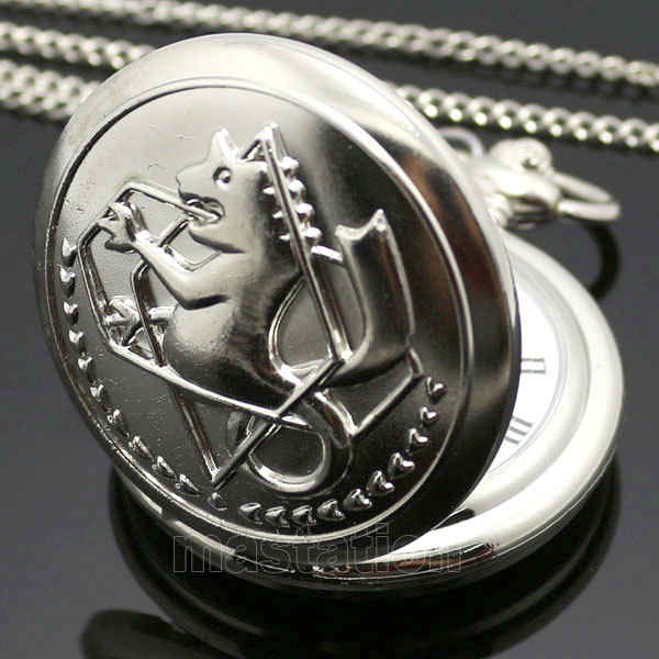 New Silver Tone Fullmetal Alchemist Pocket Watch Cosplay Edward Elric with Chain Anime Boys Gift Wholesale P423(China (Mainland))