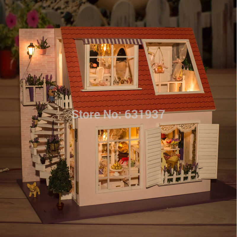 Diy Wooden Doll House Miniatura Furniture Wood dolls 1/12 light Dollhouse Miniature House Toy Gifts Houses toys Birthday Gift<br><br>Aliexpress