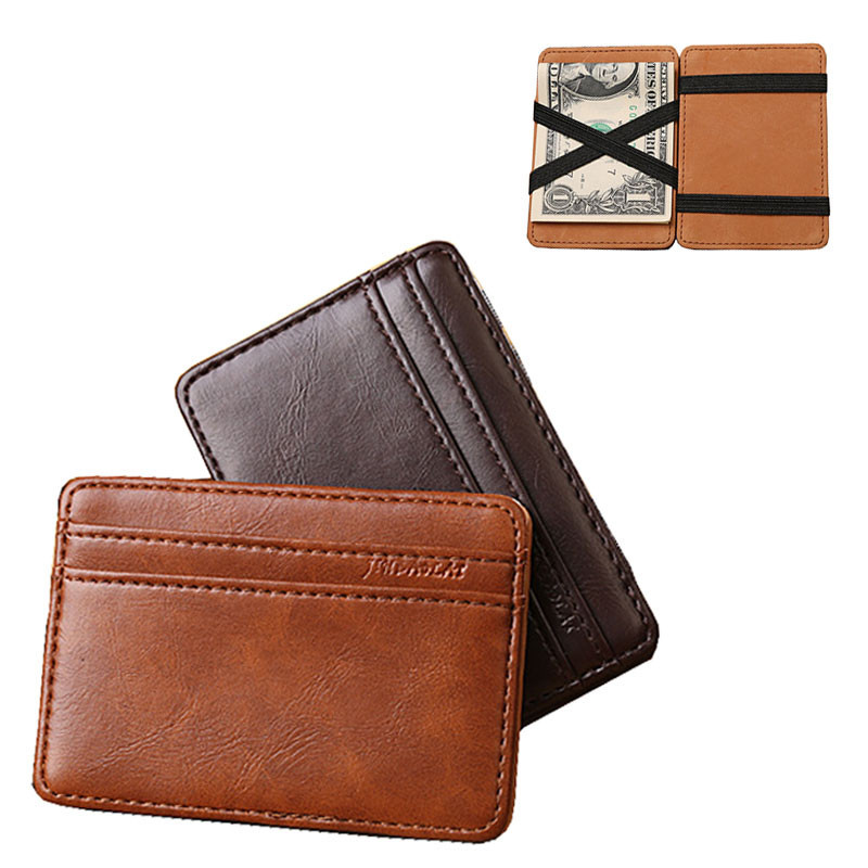 Lucky 2015 Hot Sale Fashion Men Luxury Mini Neutral Magic Bifold Leather Wallet Card Holder Wallet