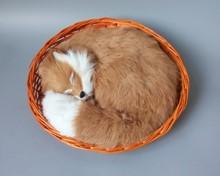 large 28x28cm simulation sleeping fox toy with basket polyethylene & furry furs brown fox model decoration gift t157