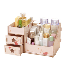 Hoomall Wooden Storage Box Jewelry Container Makeup Organizer Case Handmade DIY Assembly Cosmetic Organizer Wood Box For Office(China (Mainland))