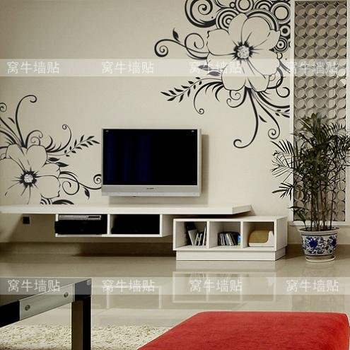 fashion modern beautiful intoxicating flower diy pvc wall