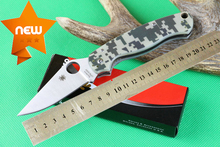6pcs/lot SPYDERCO C81 Camo CPM-S30V Tactical Knife Outdoor Survival Knives Camping Pocket Folding Knife G10 Handle Drop shipping(China (Mainland))