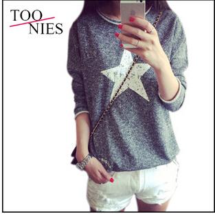 2015 Autumn and winter New fashion women long sleeve printed hoodies casual loose sweatshirt women terry