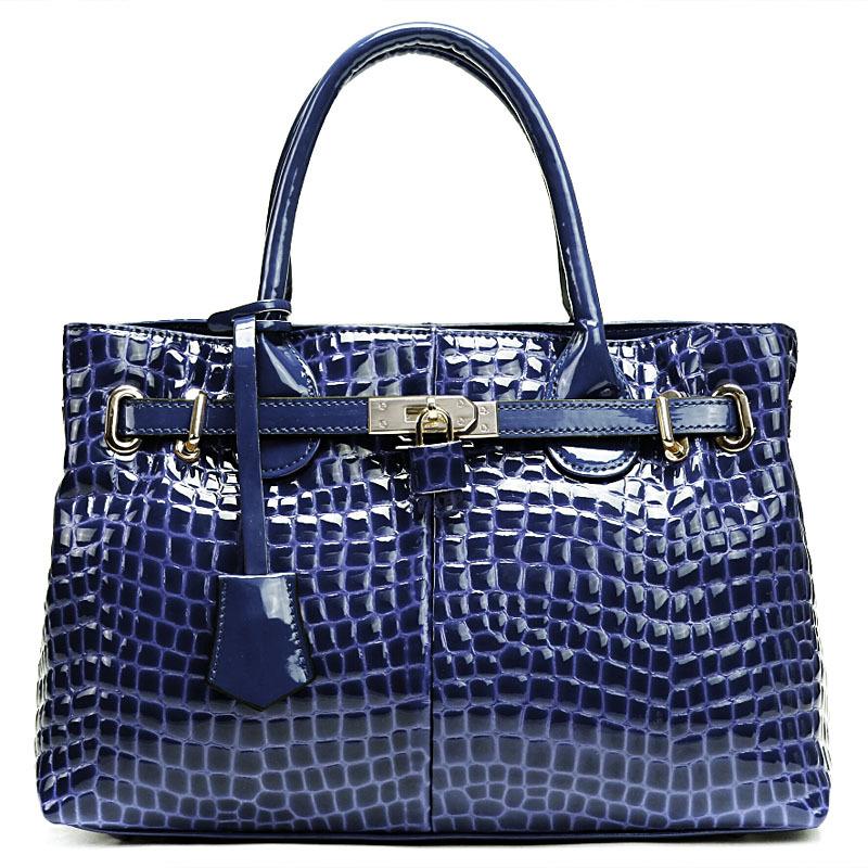 2015 new genuine leather women handbag fashion crocodile embossed patent leather lady messenger bag<br><br>Aliexpress