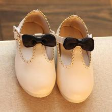 Free shipping 2016 new arrival babys shoes baby girls leather shoes Pu spring/autumn soft sole toddler princess bowknot shoes38(China (Mainland))