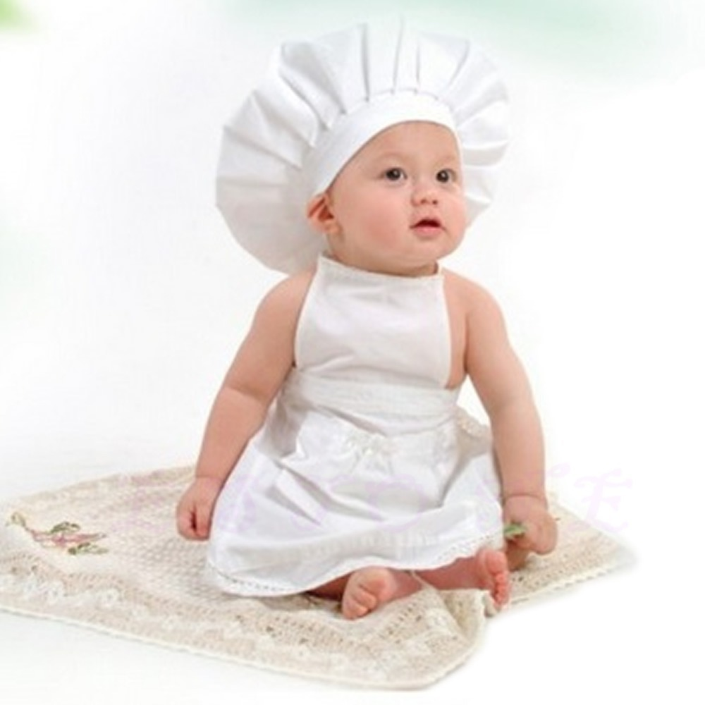 N94 White Lovely Baby Cooking Costume Photography Newborn Infant Apron Hat New(China (Mainland))