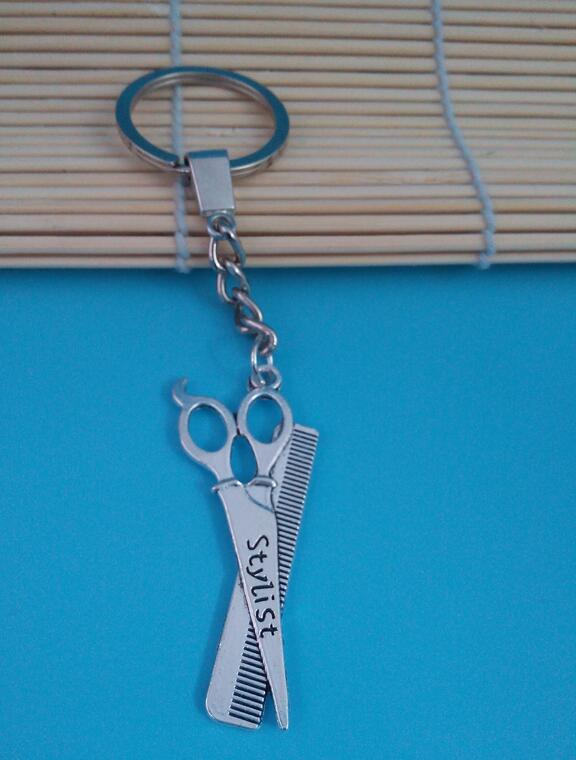 Men Jewelry Key Chain, New Fashion Metal Scissors &amp; Comb Key Chains Accessory, Vintage Barber Scissors Key Rings 30 pcs<br><br>Aliexpress