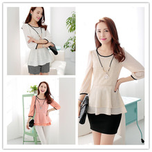 2015 woman spring fashion shirt, Hot sale Ladies patchwork bottoming shirt,The big code loose shirt,free shipping,Send Necklace