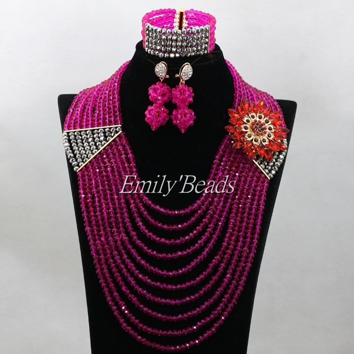 Fuchsia Pink/Silver Crystal Beads Necklace Set 10 Layers Nigerian Wedding Costume African Jewelry Sets Free Shipping ALJ241