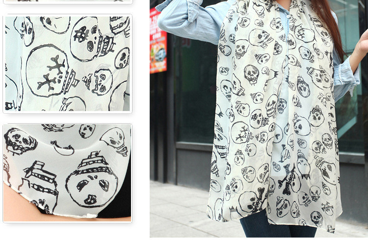 Wholesale high quality hot selling skull pattern printing cotton scarf for women(China (Mainland))