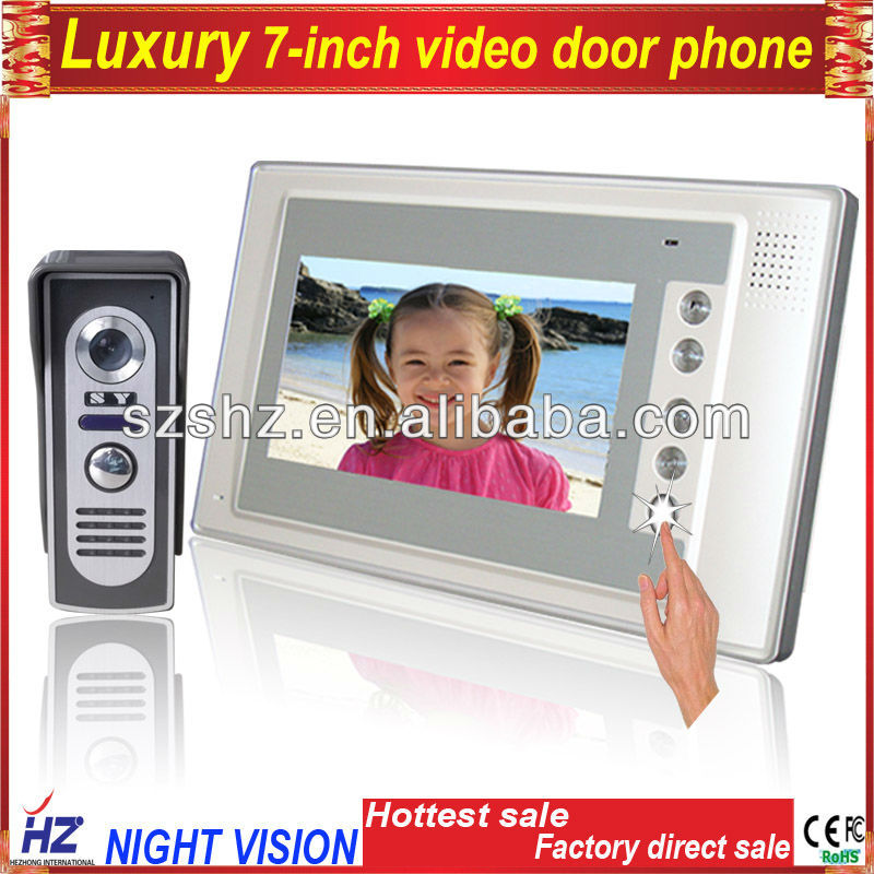 "Free shipping 7"" video door phone LCD Monitor Video DoorPhone Cmos Night vision Camera video intercom system Video Door Bell(China (Mainland))"