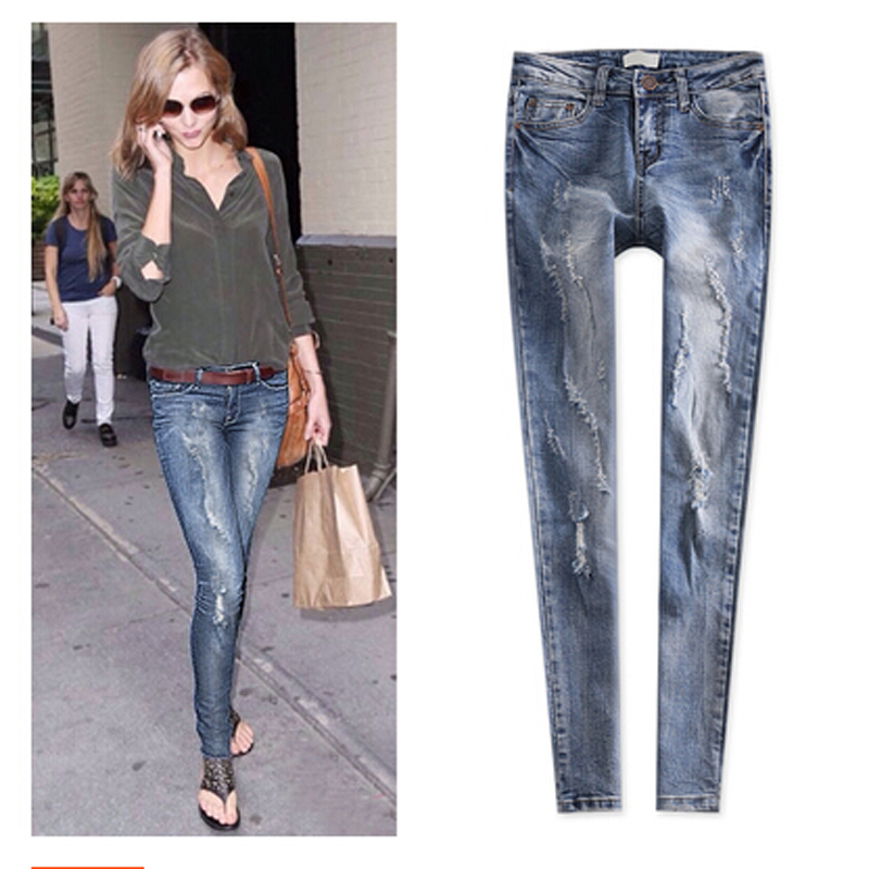 Unique Design Europen Lady Fashion Distrressed Water Washed Jeans Slim Skinny Pants JeansОдежда и ак�е��уары<br><br><br>Aliexpress