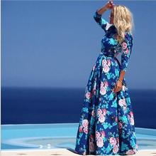 Hot Sale 2015 New Fashion Women Summer Dress Print Long Maxi Dresses Beach Dress Long Sleeve Dress For Autumn Free Shipping(China (Mainland))