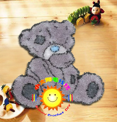 DIY Mat Needlework Kit Unfinished Crocheting Rug Yarn Cushion Embroidery Carpet Gray Bear(China (Mainland))