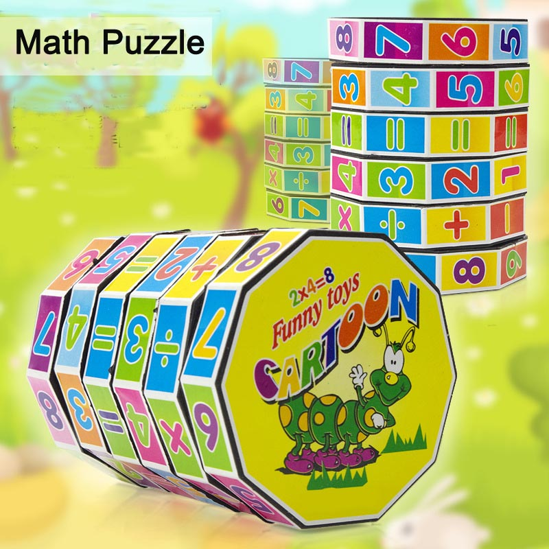 Hot Selling Funny Toy Mathematics Numbers Cylinder Magic Cube Toy Puzzle Game for Children Kids Math Early Education(China (Mainland))