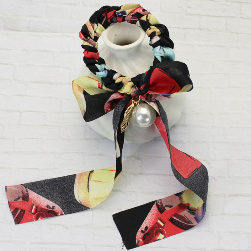 12pcs/lot 2016 Fashion Print Chiffon Bow Tail Hair Scrunchie Scarf Look Ladies Girls Pearl Leaves Organza Bow Ponytail Holder(China (Mainland))