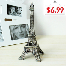 The Best Gift! 25cm High Bronze Tone Paris Eiffel Tower Figurine Statue Antique Home Decoration Vintage Metal Building Model(China (Mainland))