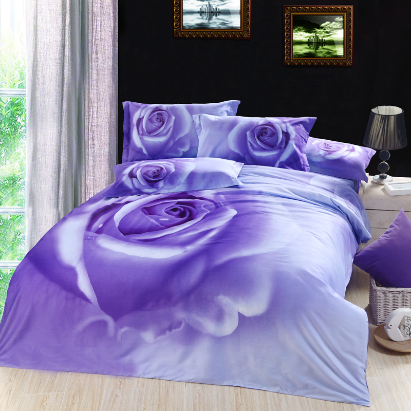 3d Lilac Purple Rose Floral Flower Bedding Set King Queen