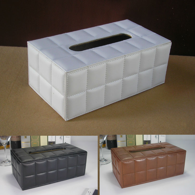 modern rectangle leather tissue napkin toilet paper box holder case dispenser home decoration white1286(China (Mainland))