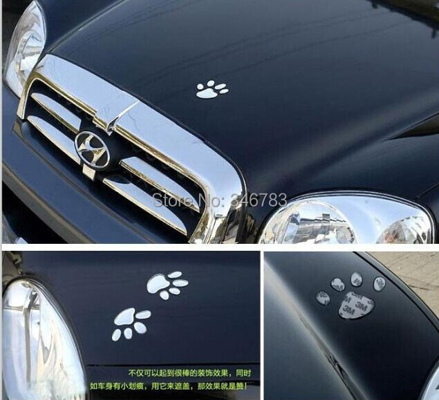 Free shipping cute car stickers 3D Footprint shape car decals wholesales car accessories Car emblems for everywhere of your car(China (Mainland))