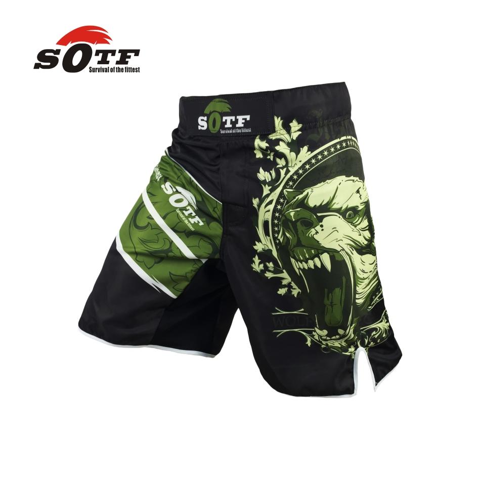 SOFT fierce fighting training mma boxing green bear breathable fitness shorts Tiger Muay Thai boxing shorts cheap mma boxeo(China (Mainland))