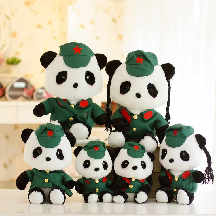 Plush dolls red panda couple doll doll artillery uniforms creative wedding gifts 2pcs Shipping,birthday present,Christmas gift(China (Mainland))