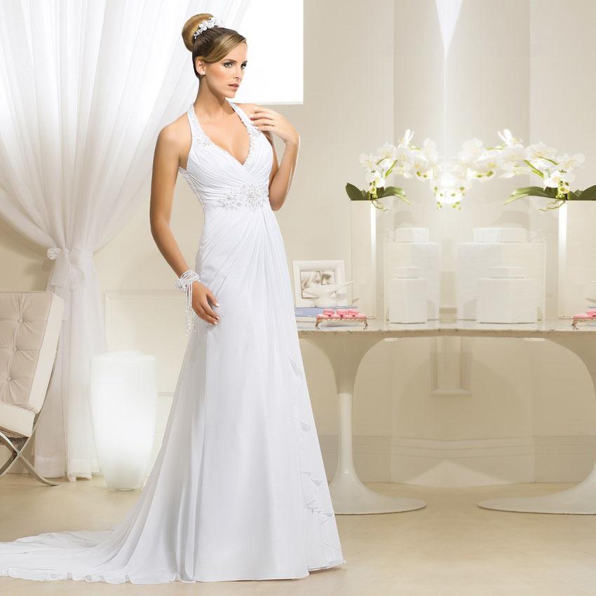 Open Back Vestido de noiva hippie barato Halter Beach Wedding Dresses A Line Floor Length Under 100 Chiffon casamento vestidos