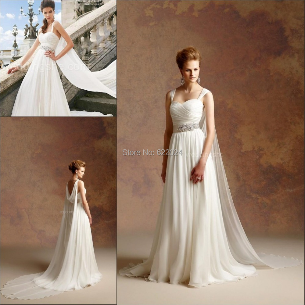 Vintage greek style a line detachable train wedding dress for Greece style wedding dresses