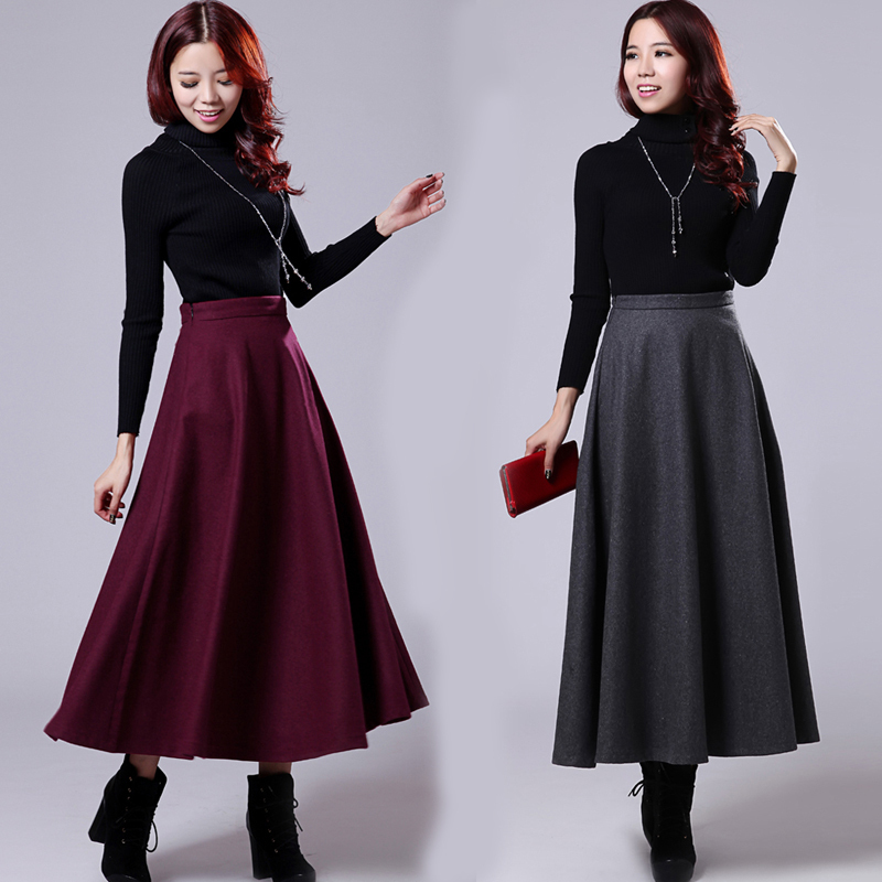 pleated skirts autumn winter woolen a line