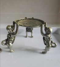 Collectible Decorated Old Tibet Silver Carved 3 Dog Climb Plate Candle Stick  free shipping(China (Mainland))