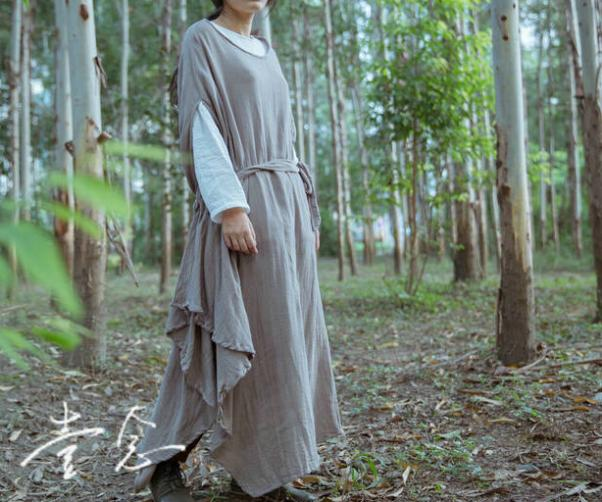 Cotton $ Linen 2015 New Women Loose Robes Maxi Plus Size Light Solid Casual Breathe Comfortable Vintage Asymmetrical Dress(China (Mainland))