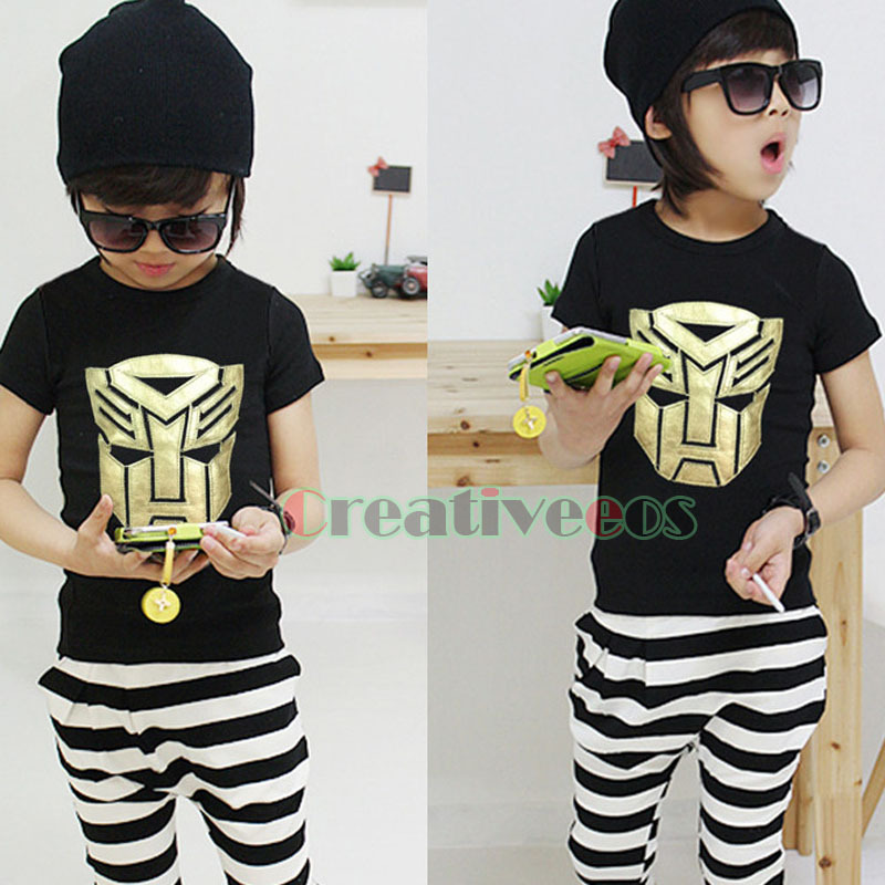 Fashion Korean Child's Kids Toddlers Boys Transformers Autobot&Decepticon Logo 100% Cotton Tops T-Shirt Shirt Stripe Short Pants(China (Mainland))