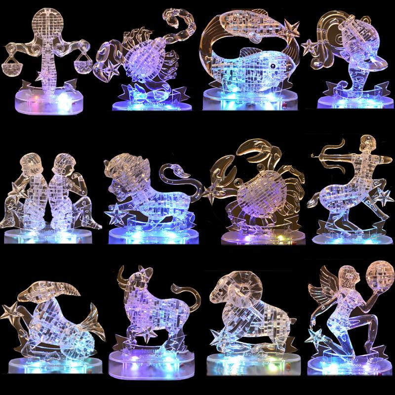 Educational DIY 3D Crystal Puzzles With Light Kids Christmas Toys Plastic Brain Horoscope Flashing Twelve Constellations Jigsaw(China (Mainland))