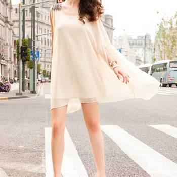 2015 Summer Women Chiffon Sleeveless Bead Mini Dress Casual Solid Sundress With Belt G20131002