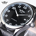 WINNER Watches Classic Mens AUTO Date automatic Mechanical Watch Self Winding Analog Skeleton Balck Leather Man
