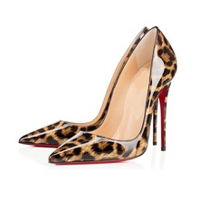 2016 Spring New Sexy Shallow Mouth Open Side Super High Thin Heel Leopard Print Patent Leather Pointed Toe Single Shoes/1057